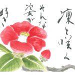 2013年2月の絵手紙エッセー『凛と咲く』